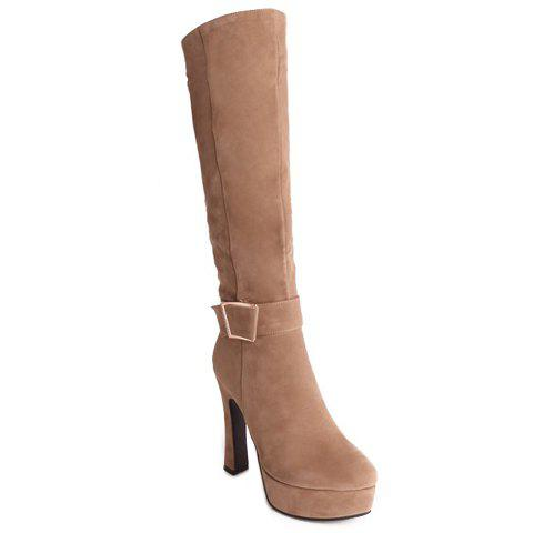 Elegant Chunky Heel and Platform Design Knee-High Boots For Women - APRICOT 37