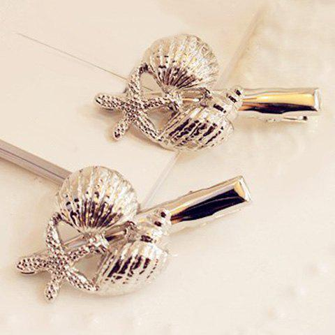 Pair of Delicate Conch Starfish Hairpins For Women - RANDOM COLOR