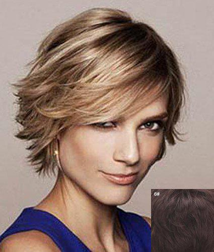 Bouffant Natural Wavy Nobby Capless Charming Short Side Bang Straight Human Hair Wig For Women - BLACK BROWN MIXED
