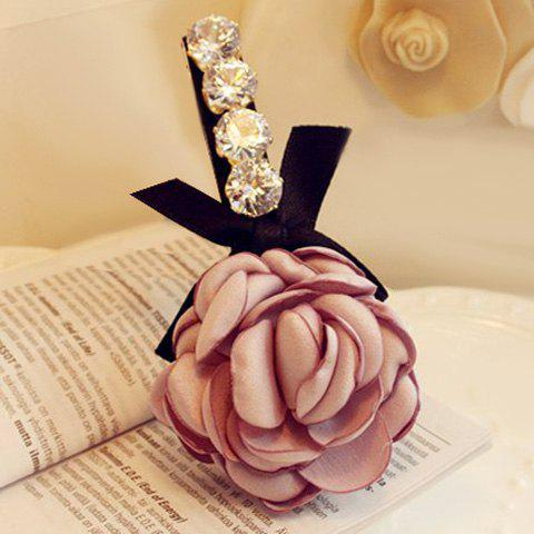 Delicate Rhinestone Flower Bow Hairgrip For Women - LIGHT PURPLE