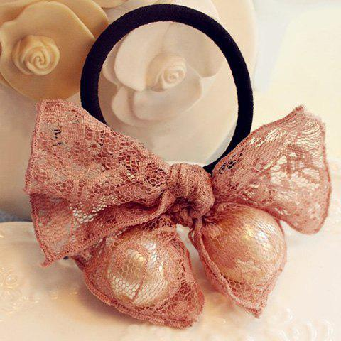 Graceful Lace Faux Pearl Bow Elastic Hair Band For Women - PINK