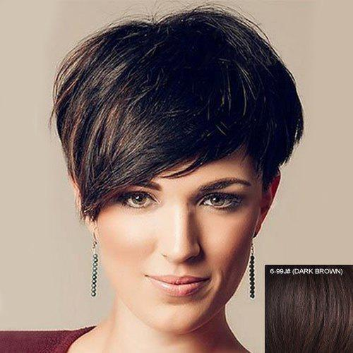Dynamic Ultrashort Assorted Color Straight Human Hair Side Bang Capless Women's Wig - DARK BROWN