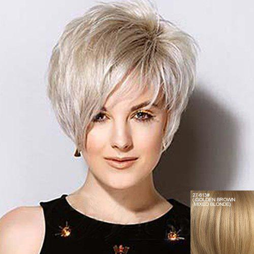 Shaggy Straight Capless Fashion Real Human Hair Charming Short Side Bang Wig For Women - ASH BLONDE /