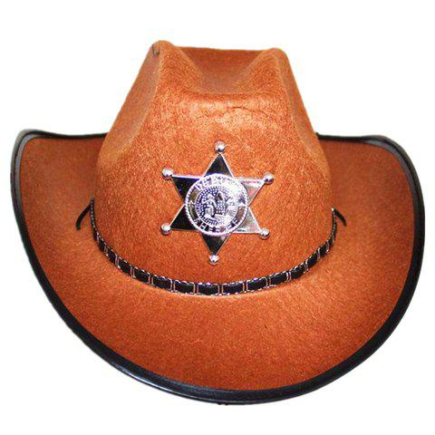 Stylish Five-Pointed Star Shape Badge and Belt Embellished Men's Costume Hat - BROWN
