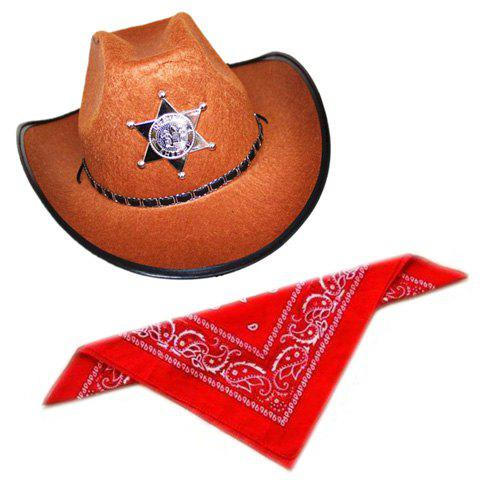 Stylish Five-Pointed Star Shape Badge and Belt Embellished Men's Costume Hat and Scarf - AS THE PICTURE
