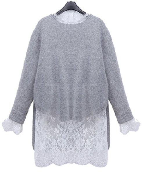 Stylish Long Sleeve Ruff Collar Lace Blouse + Solid Color Sweater Women's Twinset - LIGHT GRAY XL