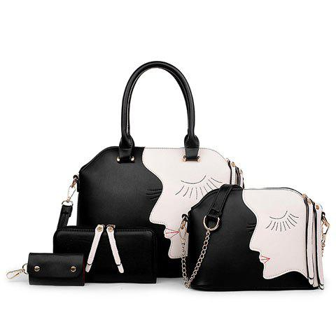 Stylish Colour Block and Zipper Design Tote Bag For Women - BLACK