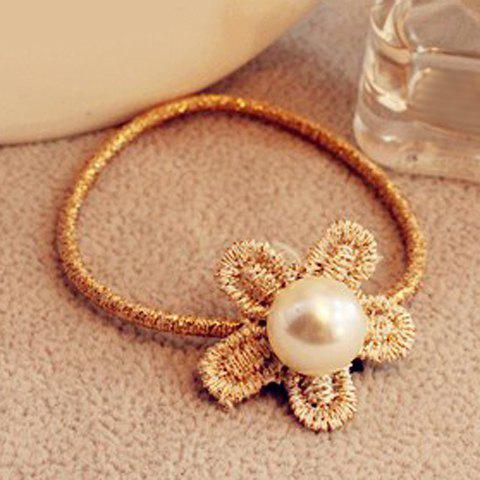 Stylish Faux Pearl Lace Flower Elastic Hair Band For Women