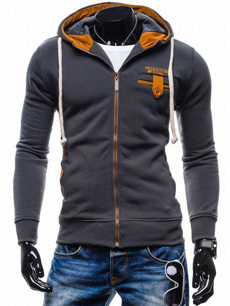 Classic Color Spliced Applique Button Pocket Embellished Hooded Long Sleeves Men's Slim Fit Hoodie 150390305