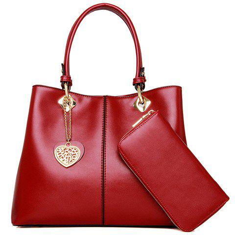 Stylish Chains and Pendant Design Tote Bag For Women - RED