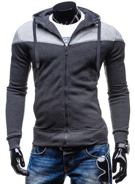 Fashion Two-Tone Spliced Front Pocket Slimming Hooded Long Sleeves Men's Zip Up Hoodie 150416805