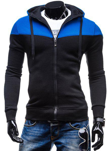 Fashion Two-Tone Spliced Front Pocket Slimming Hooded Long Sleeves Men's Zip Up Hoodie 150416816