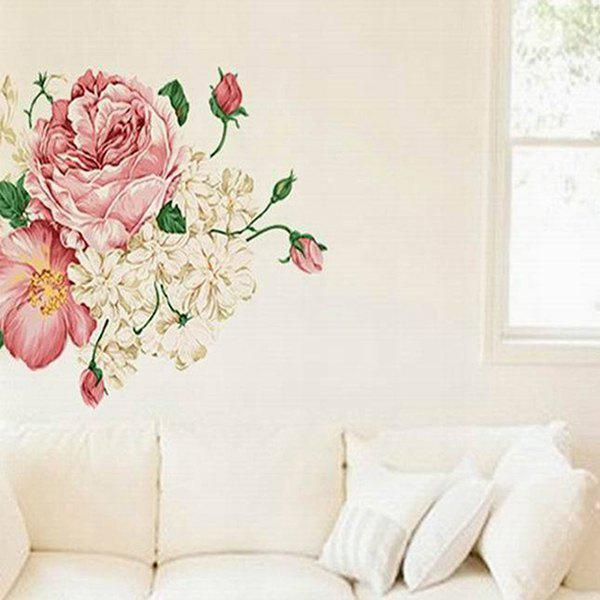 DIY Sweet Peony Pattern Home Decoration Decorative Wall Stickers - COLORMIX