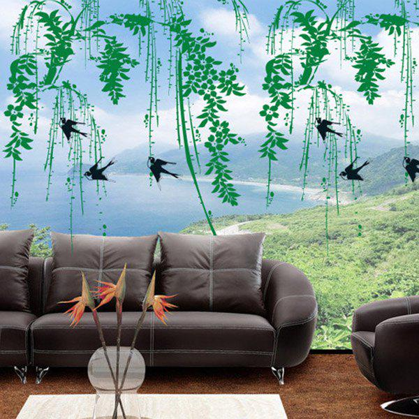 DIY Sweet Willow Branch Pattern Home Decoration Decorative Wall Stickers - GREEN