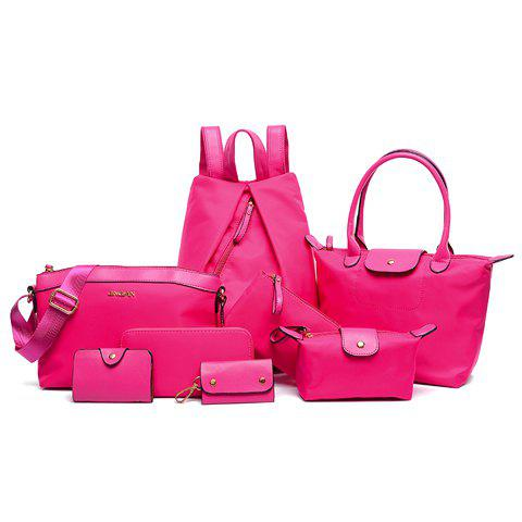 Simple Style Nylon and Zipper Design Satchel For Women - ROSE