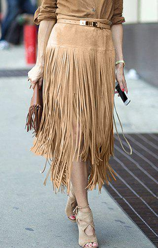 Trendy Women's High-Waisted Solid Color Faux Suede Fringe Skirt - KHAKI L