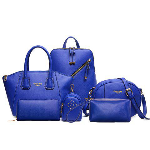 Stylish Solid Colour and Zipper Design Satchel For Women - SAPPHIRE BLUE