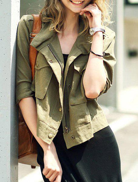 Casual Turn-Down Collar Half Sleeves Army Green Jacket For Women, ARMY