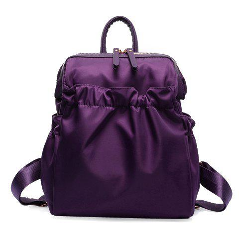 Leisure Solid Colour and Zipper Design Backpack For WomenBags<br><br><br>Color: PURPLE