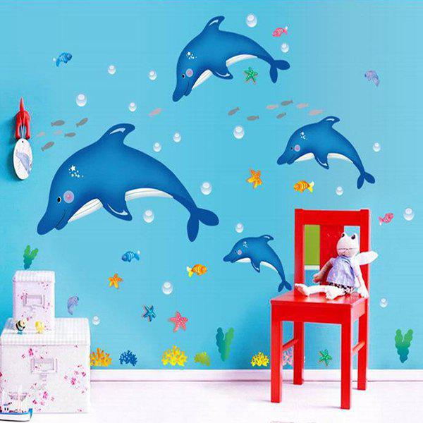 Creative DIY Dolphin Pattern Home Decoration Decorative Wall Stickers - BLUE