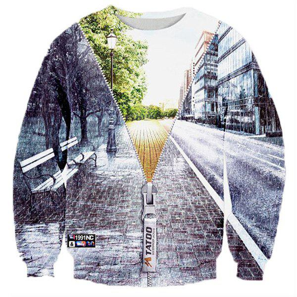 Hot Sale Round Neck Creative 3D Zipper Street Scenery Print Rib Hem Men's Long Sleeves Sweatshirt - COLORMIX M