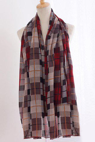 Chic Fulled Plaid Pattern Women's Voile Scarf - RED