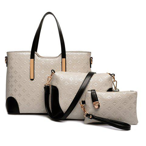 Stylish Colour Block and Embossing Design Shoulder Bag For Women - WHITE