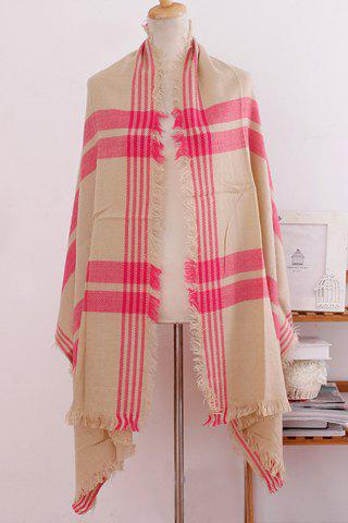 Chic Rose Red Stripe Interlaced Plaid Pattern Fringed Multifunctional Women's Scarf