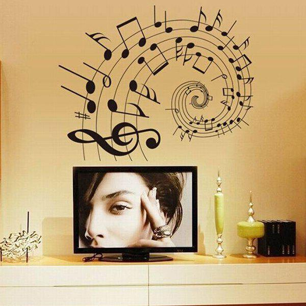 DIY Music Notes Pattern Home Decorative Wall Stickers - BLACK