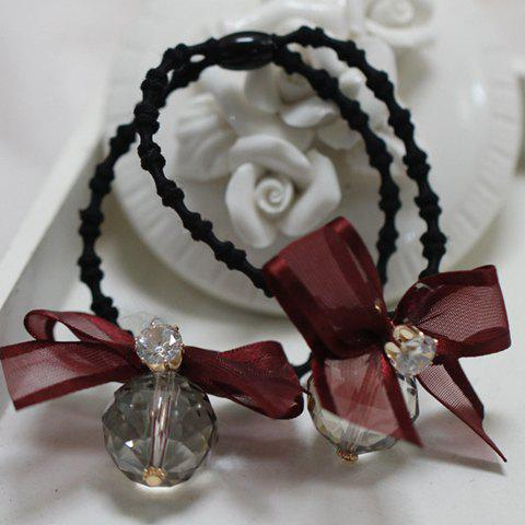 Stylish Faux Crystal Ball Bow Elastic Hair Band For Women
