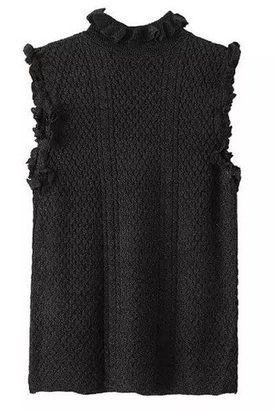 Stylish Stand-Up Collar Sleeveless Solid Color Women's Knitwear - BLACK M