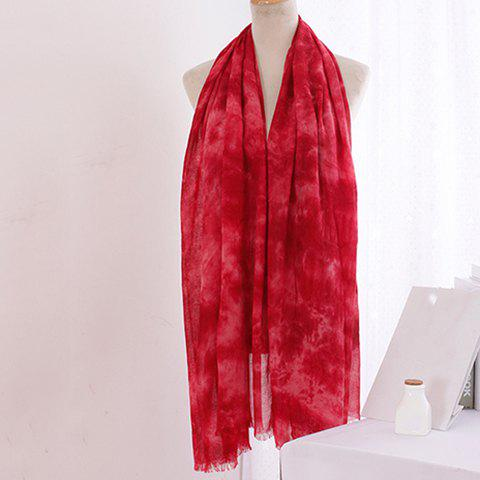 Chic Tie-Dyed Print Fringed Edge Women's Voile Scarf - RED