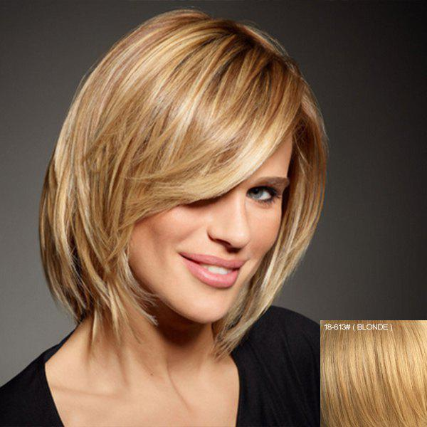 Human Hair Charming Side Bang Short Capless Elegant Fluffy Straight Wig For Women - BLONDE