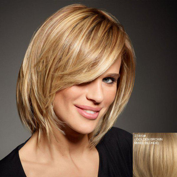 Human Hair Charming Side Bang Short Capless Elegant Fluffy Straight Wig For Women - ASH BLONDE /