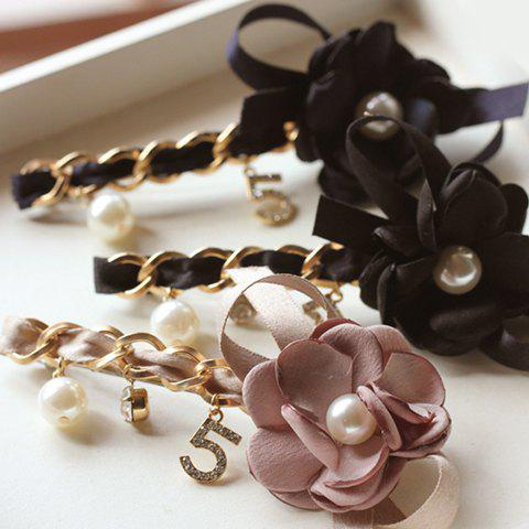 ONE PIECE Stylish Chain Flower Faux Pearl Rhinestone Pendant Hairgrip For Women - RANDOM COLOR
