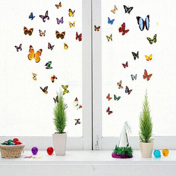 Creative DIY Colored Butterfly Pattern Home Decoration Decorative Wall Stickers - COLORMIX
