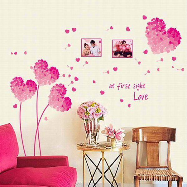 Creative DIY Pink Flower Pattern Home Decoration Decorative Wall Stickers - PINK