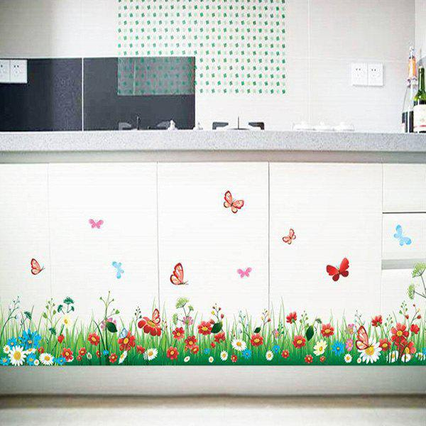 Creative DIY Grass and Flower Pattern Home Decoration Decorative Wall Stickers - COLORMIX