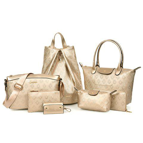 Trendy Checked and Solid Color Design Tote Bag For Women - CHAMPAGNE