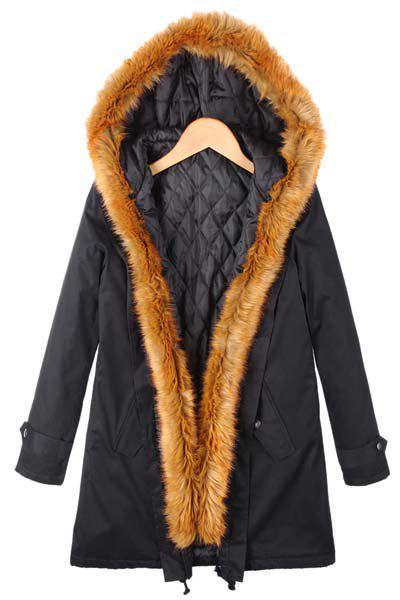 Stylish Long Sleeve Hooded Pocket Design Faux Fur Spliced Women's Coat - BLACK S