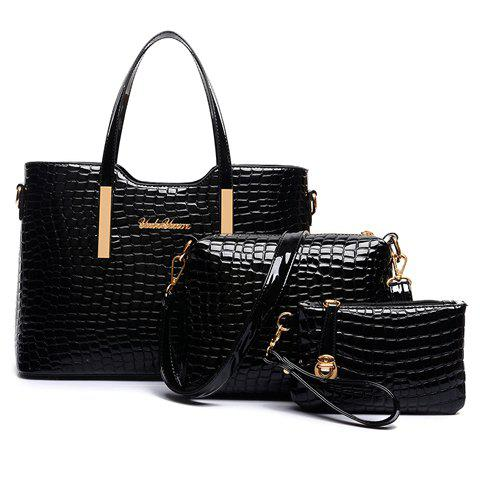 Stylish Patent Leather  and Crocodile Print Design Tote Bag For Women - BLACK