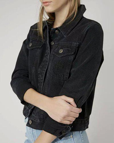 Vintage Long Sleeve Turn-Down Collar Bleach Wash Solid Color Women's Denim Jacket - BLACK L