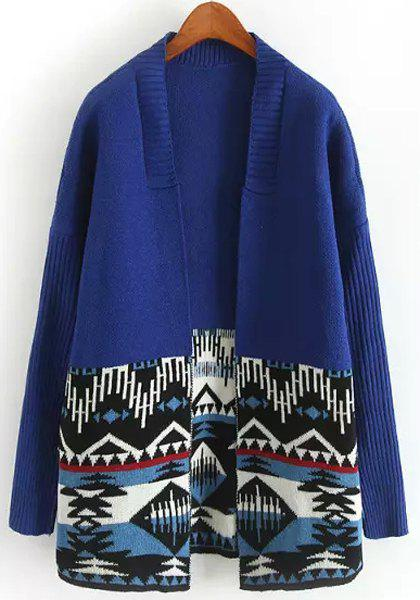 Women's Chic Color Block Long Sleeve Ethnic Print Cardigan - BLUE ONE SIZE(FIT SIZE XS TO M)