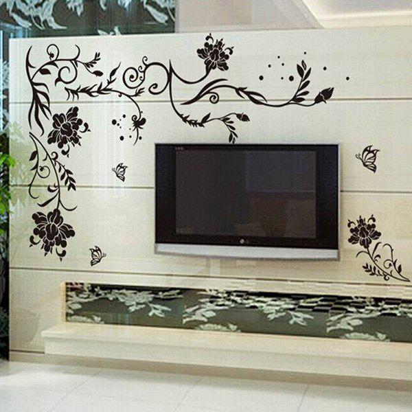 Simple DIY Floral Pattern Home Decoration Decorative Wall Stickers - BLACK