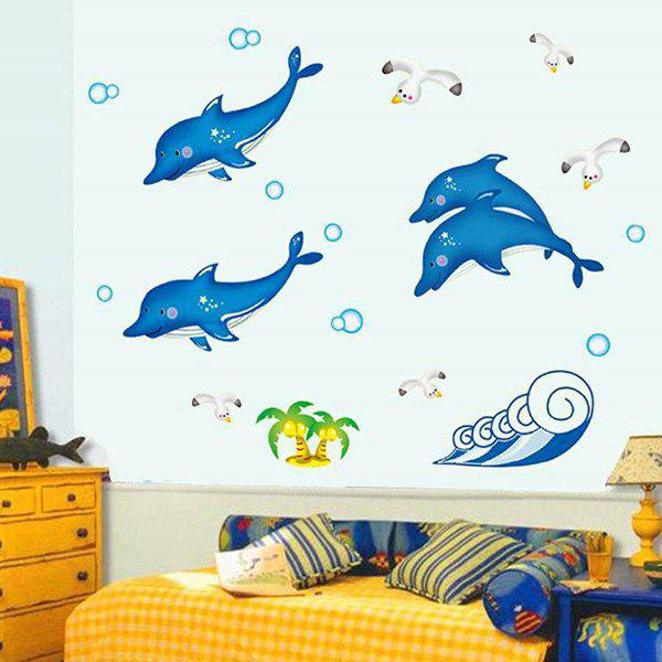 Simple DIY Cute Dolphin Pattern Home Decoration Decorative Wall Stickers - COLORMIX