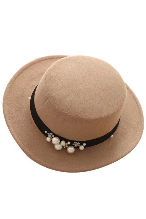 Chic Faux Pearl Strappy Flat Top Felt Hat For Women - KHAKI