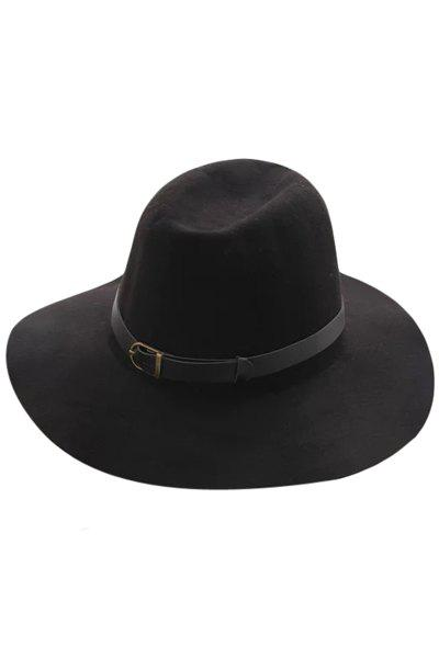 Chic Belt Felt Vintage Hat For Women - BLACK