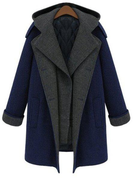 Stylish Long Sleeve Hooded Spliced Faux Twinset Women's Coat - PURPLISH BLUE XL