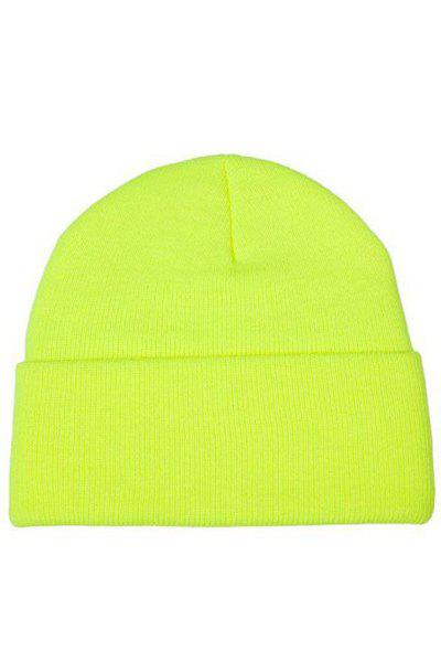 Chic Candy Color Knitted Beanie For Women - YELLOW