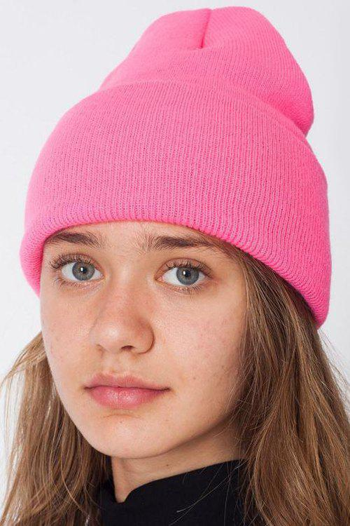Chic Candy Color Knitted Beanie For Women - PINK